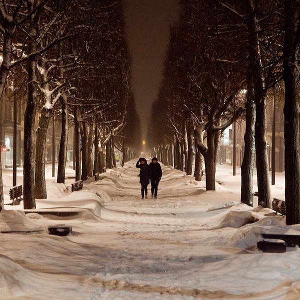 Kaunas in a snowstorm