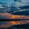 Saulelydis  virs Dusios ezero. Sunset over Lake Dusia