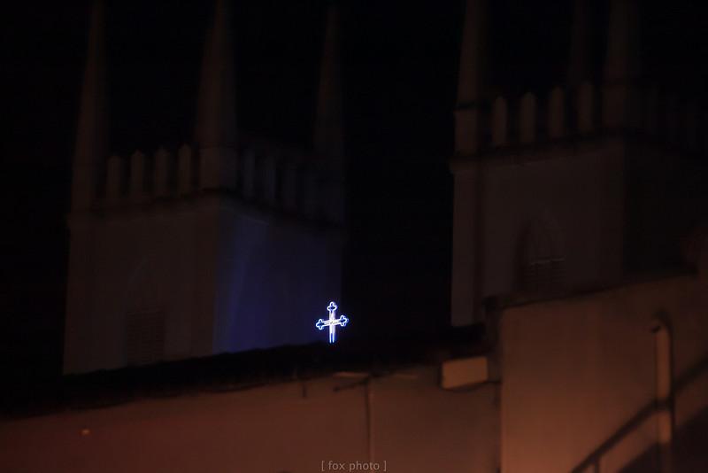 馬六甲。夜晚。教堂