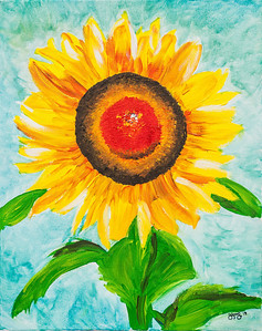 """Lauren painted this sunflower and brought it to NC for her """"art teacher"""" dad to give a critique.  It is a nice painting; I am proud of her."""