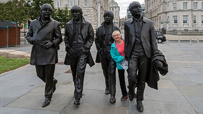 Karen meets the Beatles in downtown Liverpool