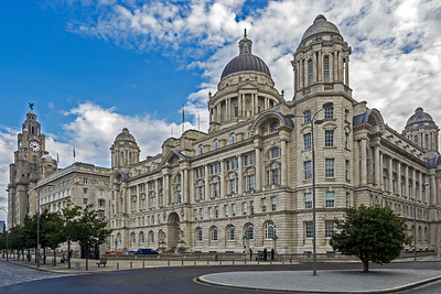Left, Royal Liver Building and domed Port of Liverpool building on right
