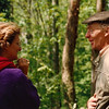 Jean Ireton talking with another boater at Llangollen in 1996.