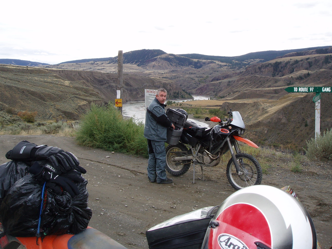 Near the Gang Ranch on our second day of riding. We had ridden in rain all morning making the ride miserable. The weather finally broke making for a great afternoon of riding.