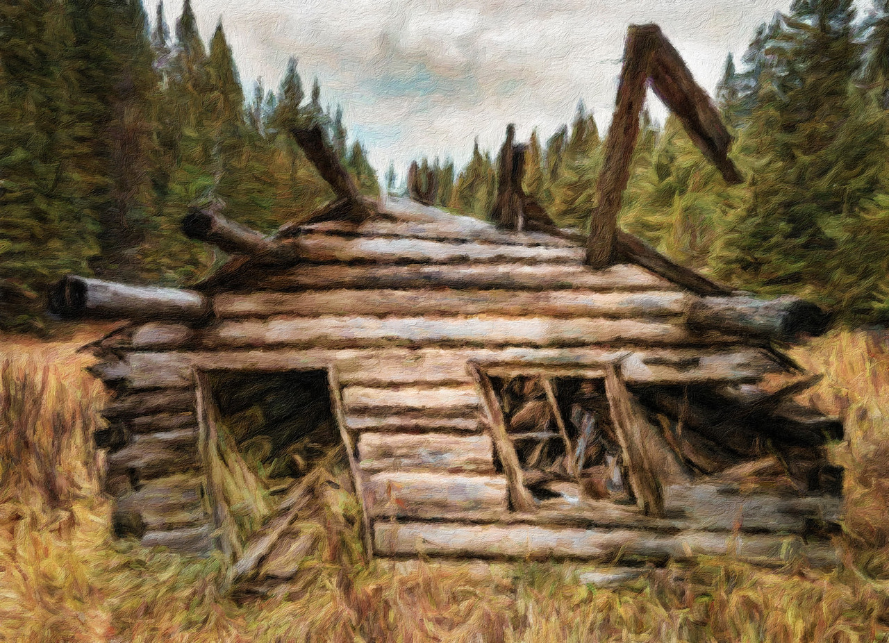 oil painting of a cabin ruin