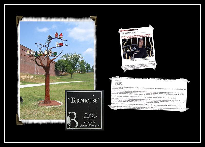 'Birdhouse' sculpture [inset images incl articles about it, corner frames, borders]