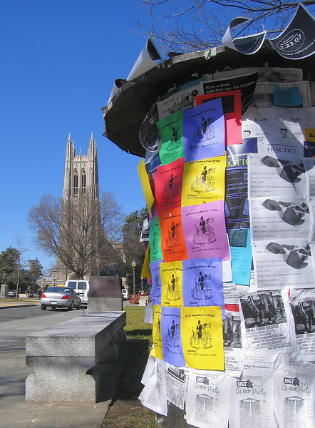 Duke Chapel, kiosk with colorful signs