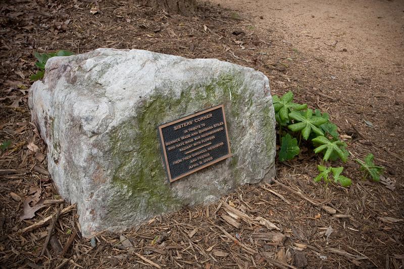20090408 Dedication stone for Sisters Corner, Battle Park, Chapel Hill NC (1257p)