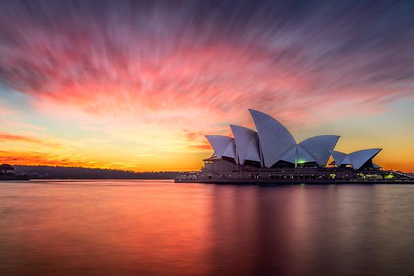 Sydney Opera House Red Sky