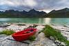 Red boat near Vareid