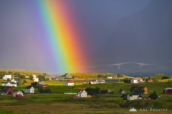 A rainbow on a stormy afternoon in Fredvang