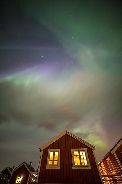 Aurora borealis, Hamnoy, Lofoten, Norway, 2015