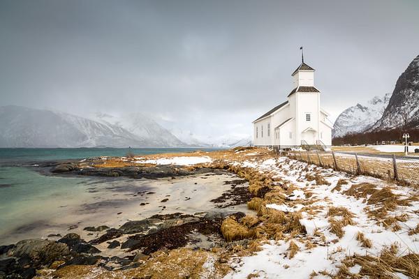 Gimsoy church, Gimsoy island, Lofoten, Norway, 2015