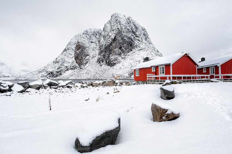 Red Cabins in a World of White