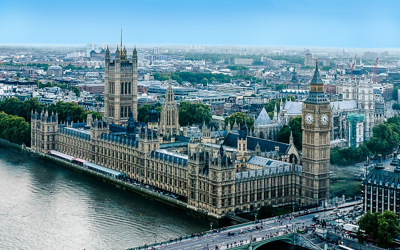 Houses of Parliament and Big Ben - aerial view.