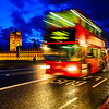 London Bus and Parliament at night