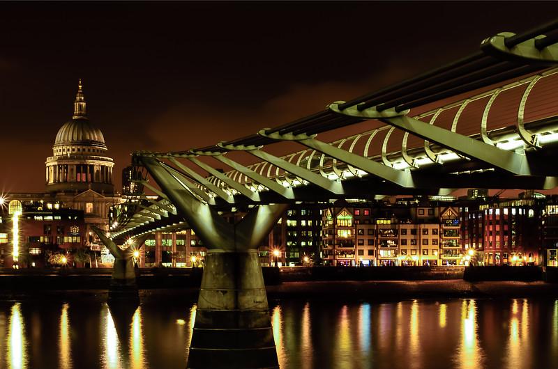 MIllenium Bridge and St Paul's at Night