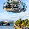 Jondon Eye and view of River Thames Bridges
