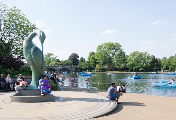 это напротив фонтана - озеро где плавают на лодках. утки тоже купаются там