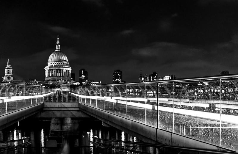 MIllenium Bridge and St Paul's at Night - Black & White