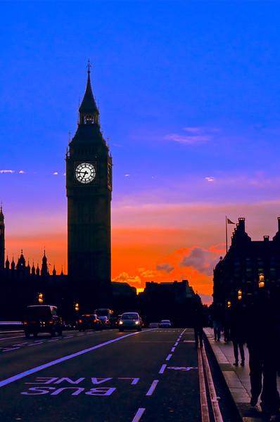 Polarized Big Ben at Sunset