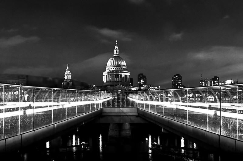 MIllenium Bridge and St Paul's at Night - Black & White