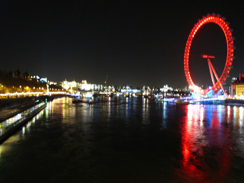 The Thames and London Eye at night.