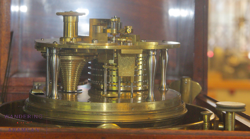 An 8 day chronometer. This one one of dozens of clocks on dsiplay at the Royal Observatory.