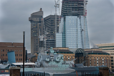Cruiser HMS Belfast in front of the Shard