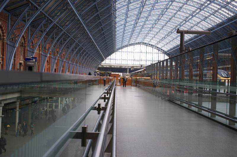 St Pancras EuroStar station<br /> Trains on right