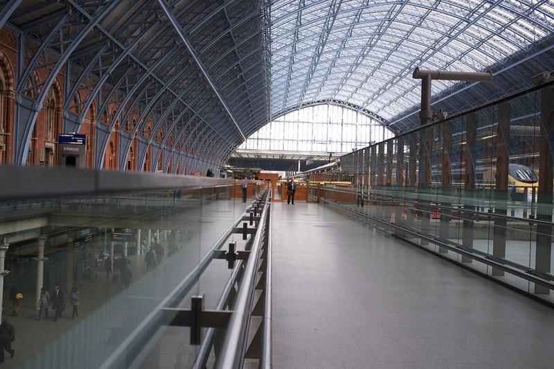 St Pancras EuroStar station<br /> Trains on right