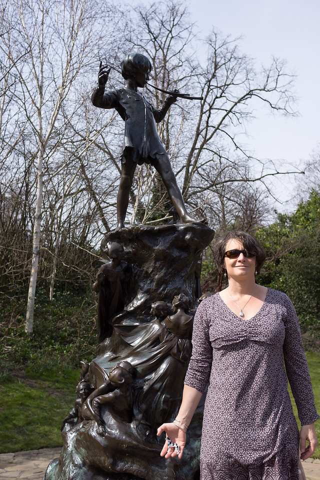 Lisa at Peter Pan statue in Kensington Park