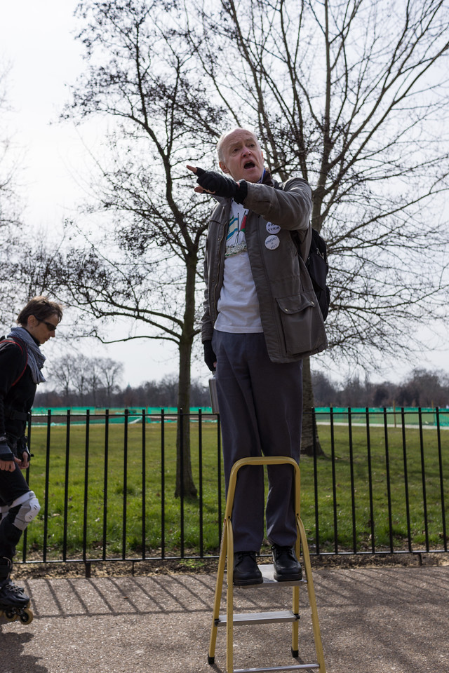 Man raving on Speaker's Corner in Hyde Park
