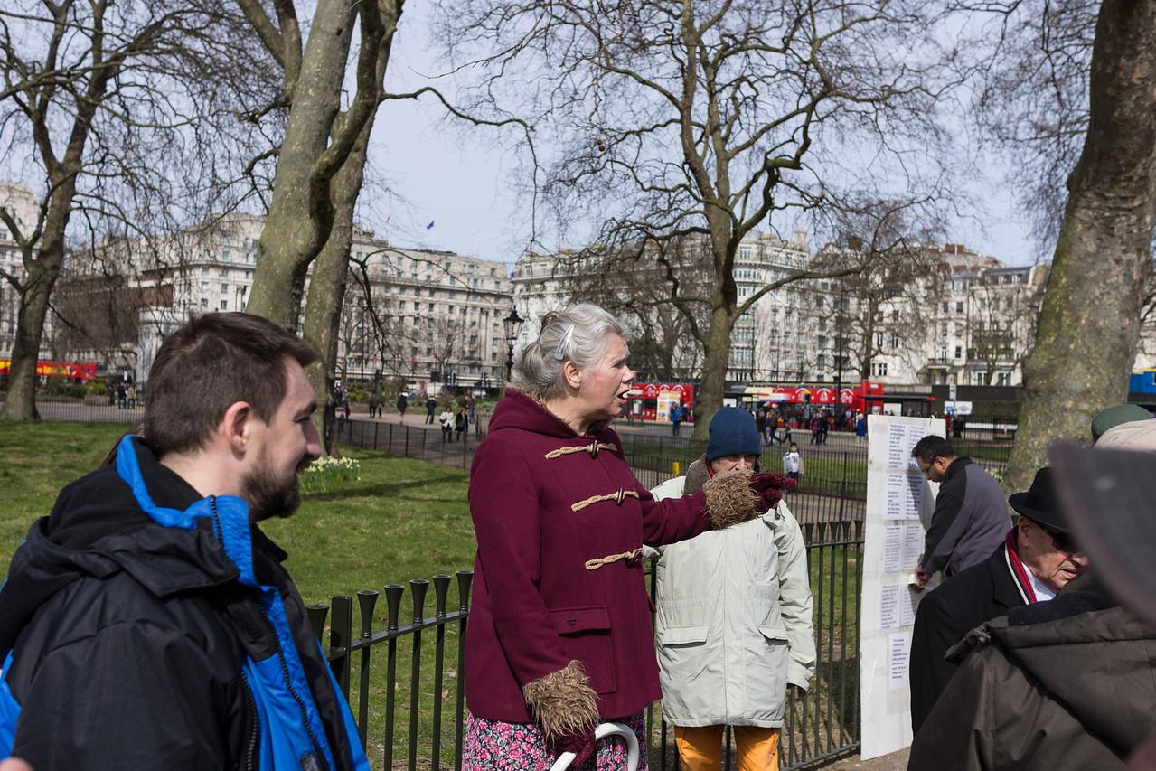 Woman raving on Speaker's Corner in Hyde Park