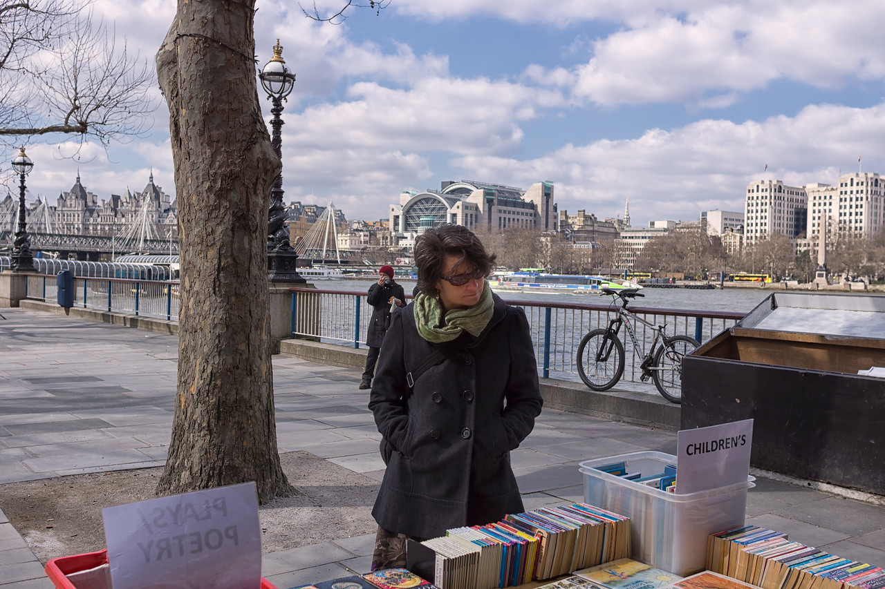 Lisa at a book stand on the South Bank