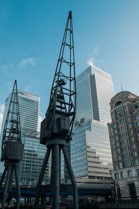 Cranes in front of the Marriott