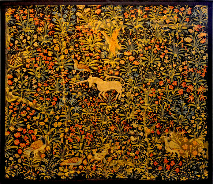 Unicorn tapestry from Flanders ca. 1500
