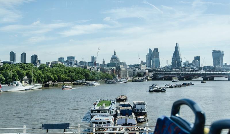 "Atop bus on Waterloo bridge looking towards the <a href=""https://en.wikipedia.org/wiki/City_of_London"" target=""_blank"">City</a>"