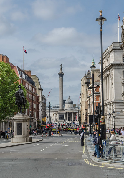 "<a href=""https://en.wikipedia.org/wiki/Nelson%27s_Column"" target=""_blank"">Nelson's Column</a> from Whitehall after VE day parade<br>Equestrian statue of Prince George, Duke of Cambridge (1819-1904)"
