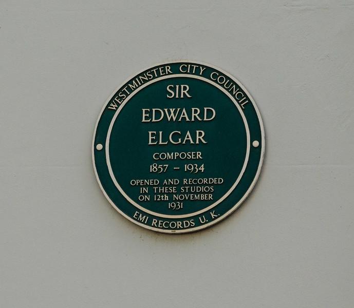"""<a href=""""https://en.wikipedia.org/wiki/Edward_Elgar"""" target=""""_blank"""">Sir Edward Elgar</a> plaque at <a href=""""https://en.wikipedia.org/wiki/Abbey_Road_Studios"""" target=""""_blank"""">Abbey Road Studios</a>"""
