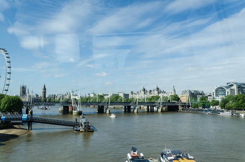Atop bus on Waterloo bridge looking towards Westminster