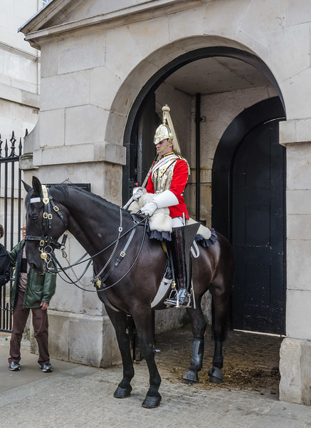 "<a href=""https://en.wikipedia.org/wiki/Household_Cavalry"" target=""_blank"">Household Cavalry</a> sentry at <a href=""https://en.wikipedia.org/wiki/Horse_Guards_%28building%29"" target=""_blank"">Horse Guards</a>, Whitehall"