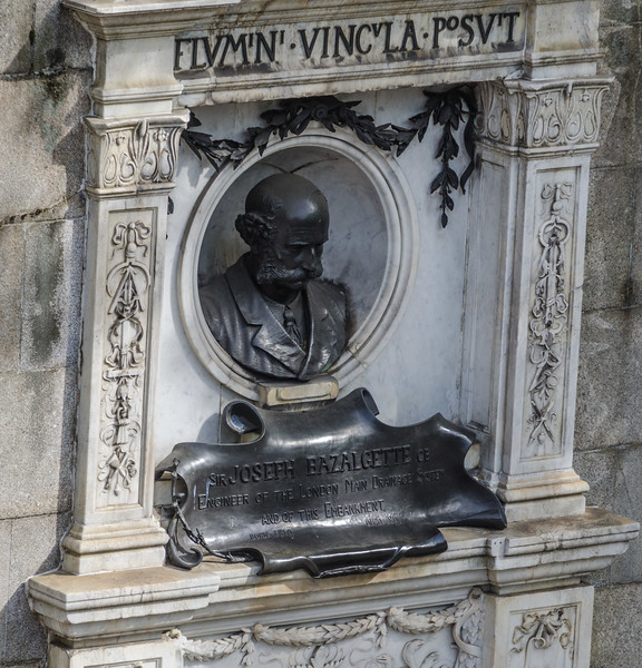 "<a href=""https://en.wikipedia.org/wiki/Joseph_Bazalgette"" target=""_blank"">Joseph Bazalgette</a>, creator of the central London sewers.<br> Monument on the Embankment at Charing Cross"