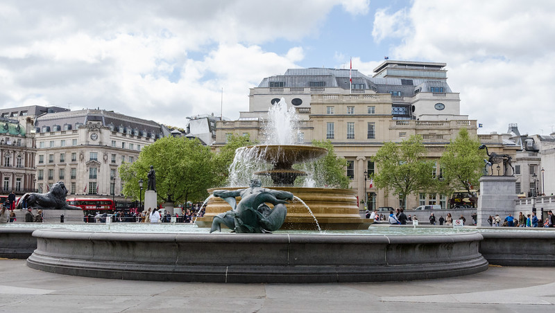 "Trafalgar Square fountain, <a href=""https://en.wikipedia.org/wiki/Canada_House"" target=""_blank"">Canada House</a> in background"