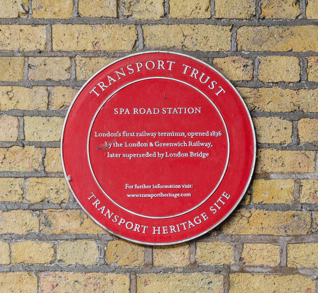 "<a href=""https://en.wikipedia.org/wiki/Spa_Road_railway_station"" target=""_blank"">Spa Road</a> railway station plaque"