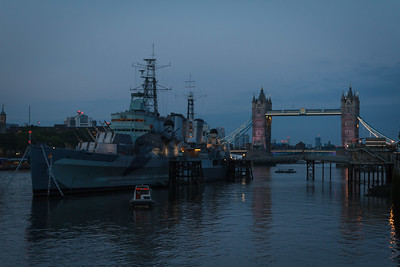 HMS Belfast and the Tower Bridge at Dusk