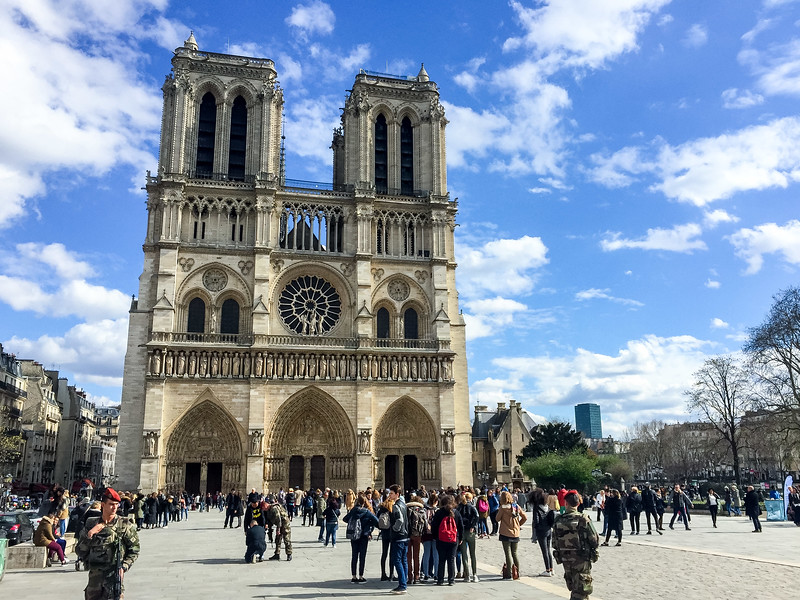I was lucky to get to Notre Dame relatively early.  The line to get in got quite long later in the day.  Notice the soldiers with automatic weapons walking around.  Paris takes security very seriously!