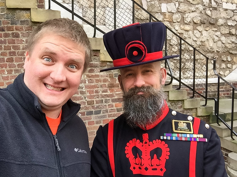 Me and a Yeomen Warder (Beefeater)...the guards of the crown jewels and leaders of tours at the Tower of London