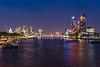 London at night from the Waterloo Bridge