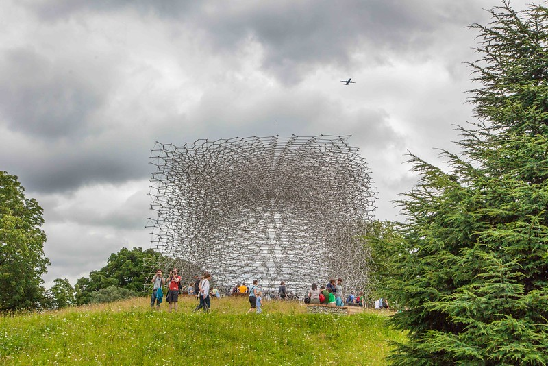 The Hive, an artist's installation by Wolfgang Buttress, presenting in hundreds of thousands of aluminum pieces a bee hive. People enter at the below ground level and climb up to a glass floor open to the cocculus. Sound is piped in, representing buzzing from a nearby real bee hive. The Hive opened in July 2016 and will buzz away in 2017.